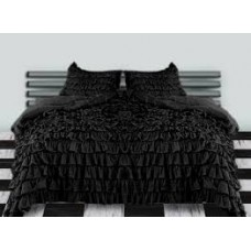 Ruffle Duvet Cover Black Egyptian Cotton