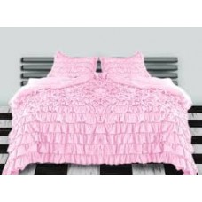 Ruffle Duvet Cover Pink Egyptian Cotton